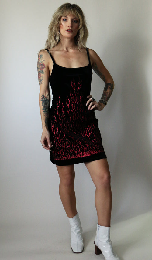 90's Black Red Flame Glitter Mini Dress Size S/M