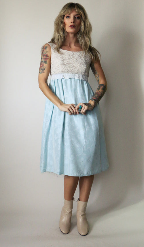60's Empire Waist Baby Blue Party Dress Size Small