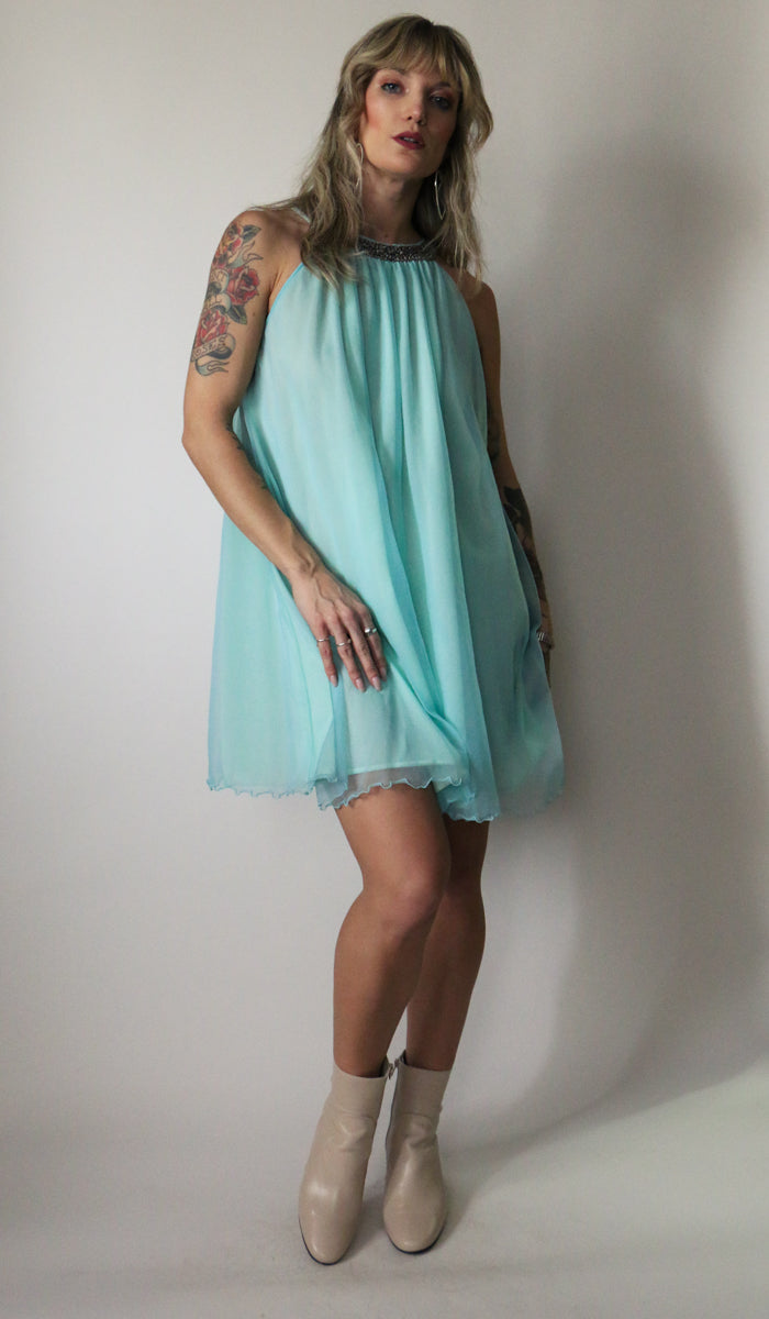 60's Aqua Babe Floaty Nightie Dress Size Small