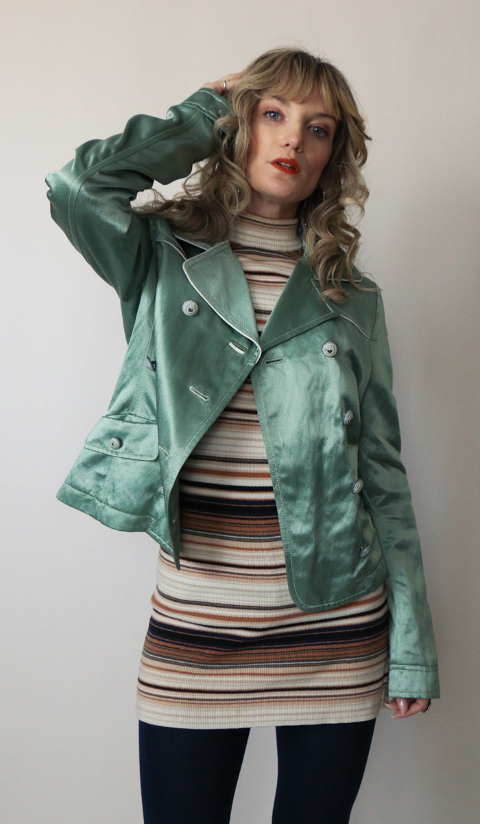90's Mint Shimmer Cropped Jacket Size Small