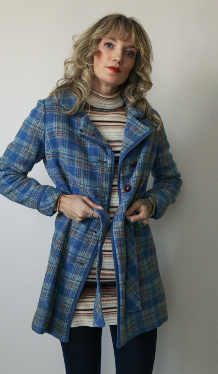 70's Blue Wool Plaid Jacket Size XS