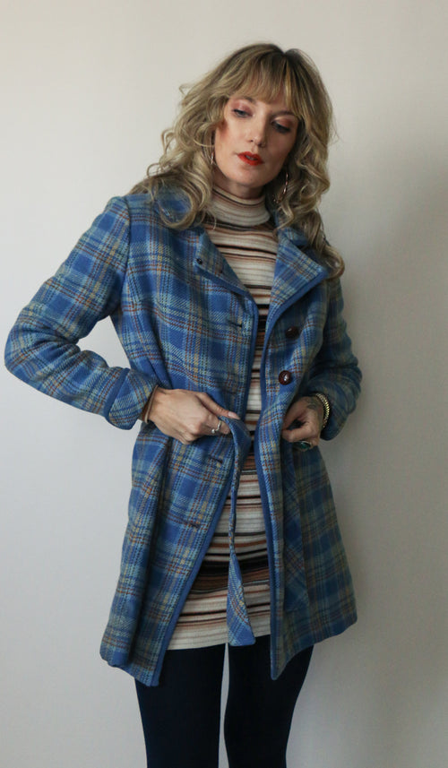 70's Blue Plaid Jacket Size XS