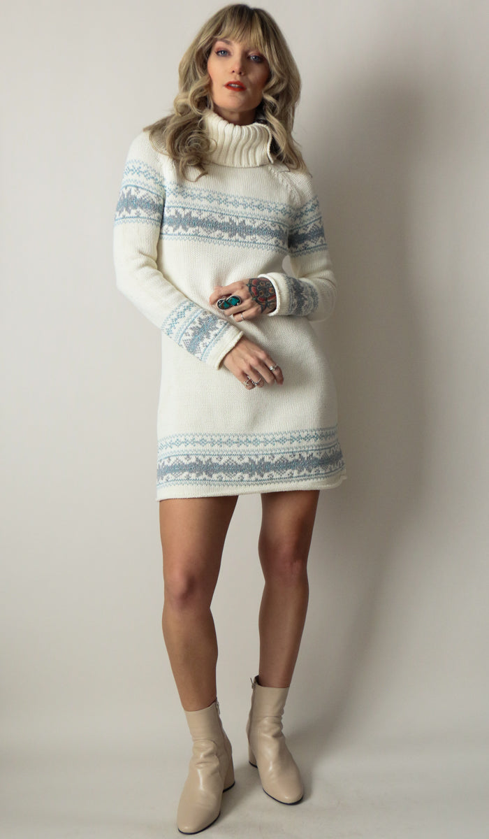 90's Sweetheart Blue Cream Sweater Dress Size Small