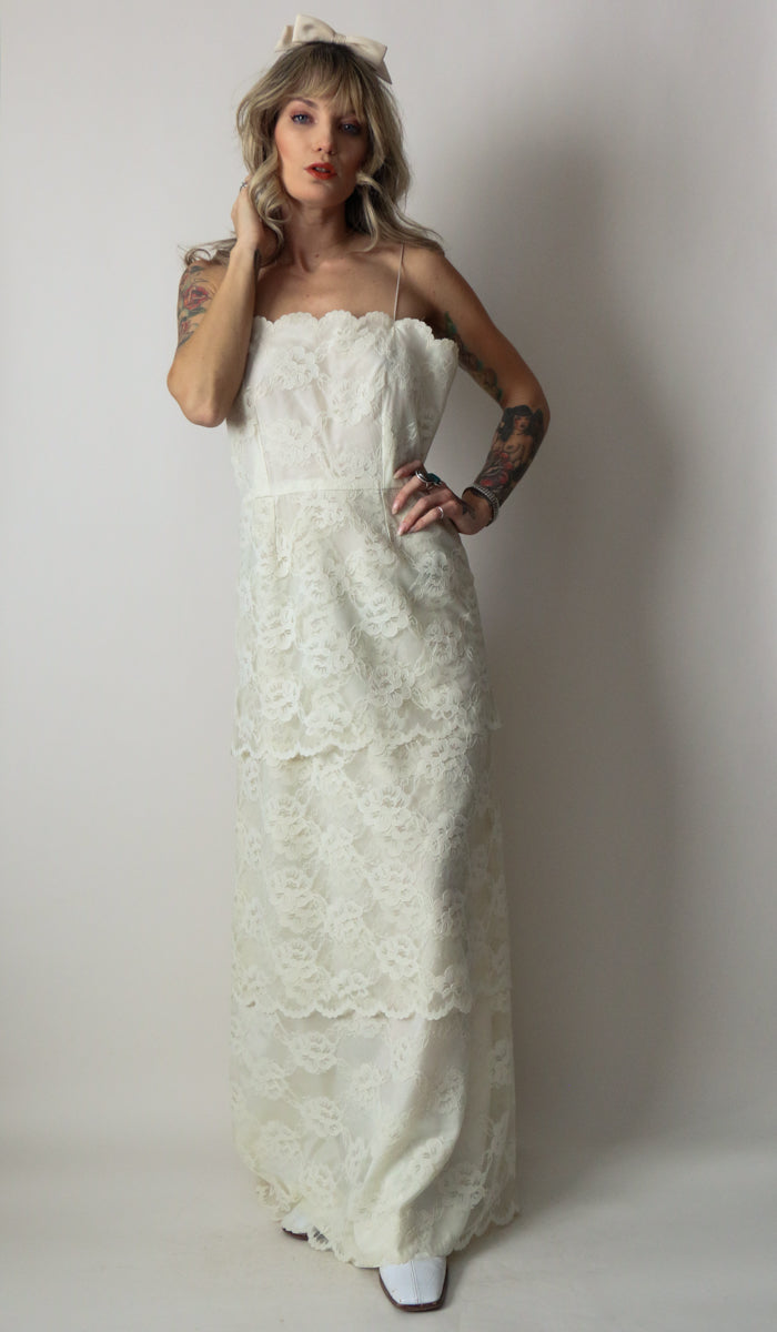 70's Cream Tiered Lace Dress Size Small