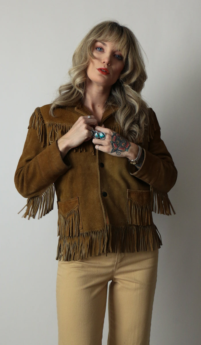 70's Authentic Suede Fringe Tassel Jacket Size XS