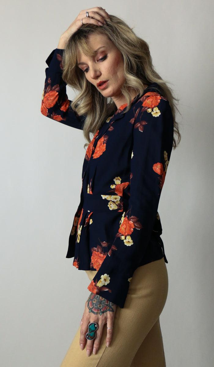 70's Workin Babe Floral Blouse Size Small