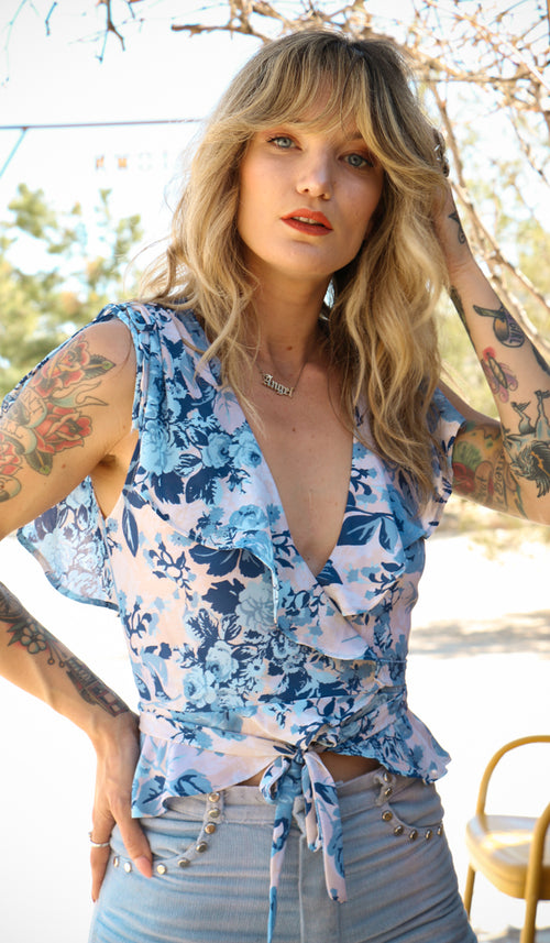 Angie Floral Wrap Blouse in Blue Rose