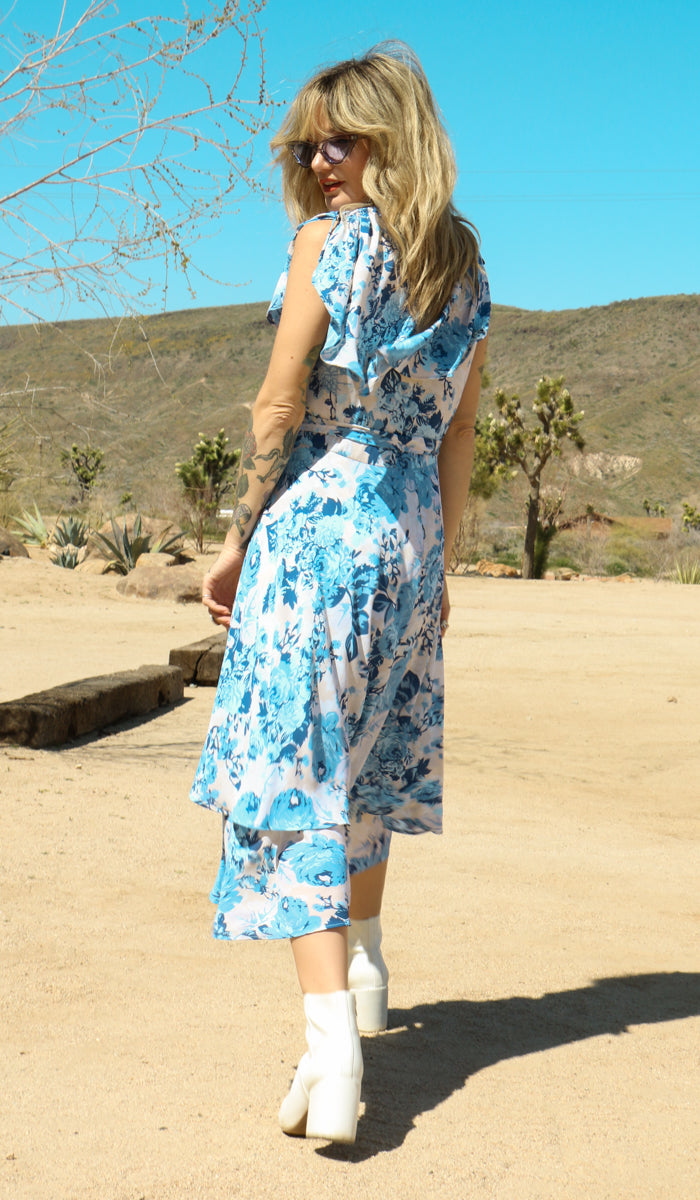 Angie Floral Wrap Dress in Blue Rose