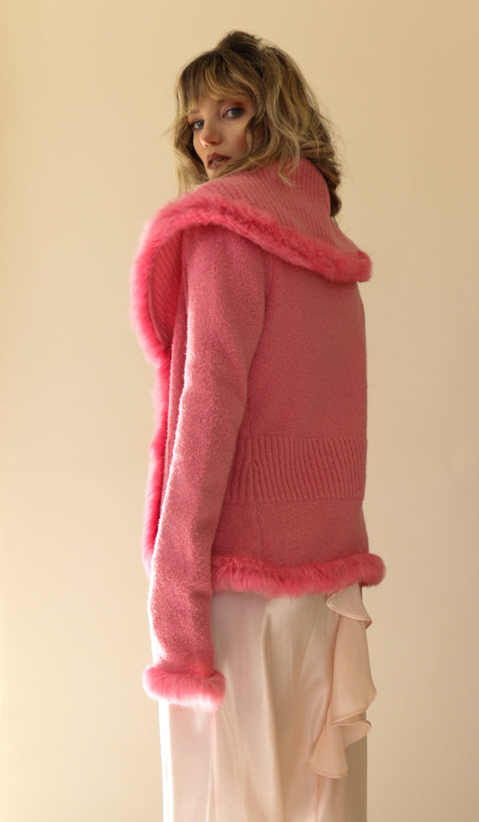 Y2K Bebe Hot Pink Fur Trim Sweater Size Medium