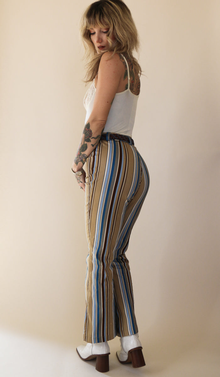 Kimberly Striped Pants in Sky Blue