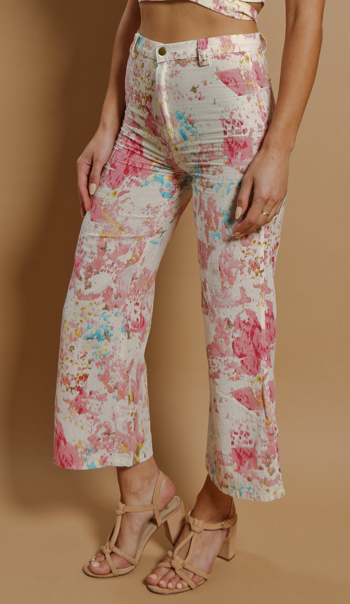 matching set deadstock fabric watercolor cropped pants flares