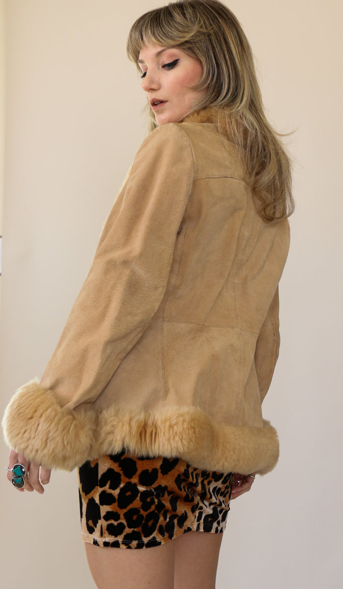 70's Caramel Suede Faux Fur Trim Princess Coat Size Small
