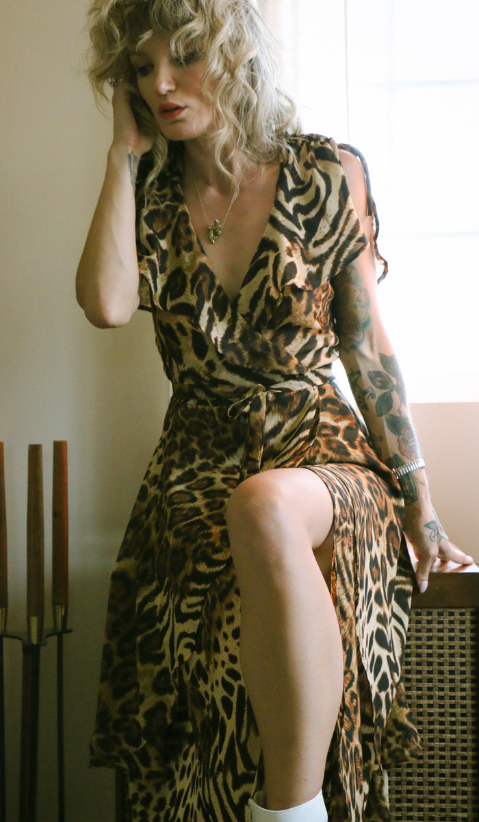 Angie Wrap Dress in Leopard