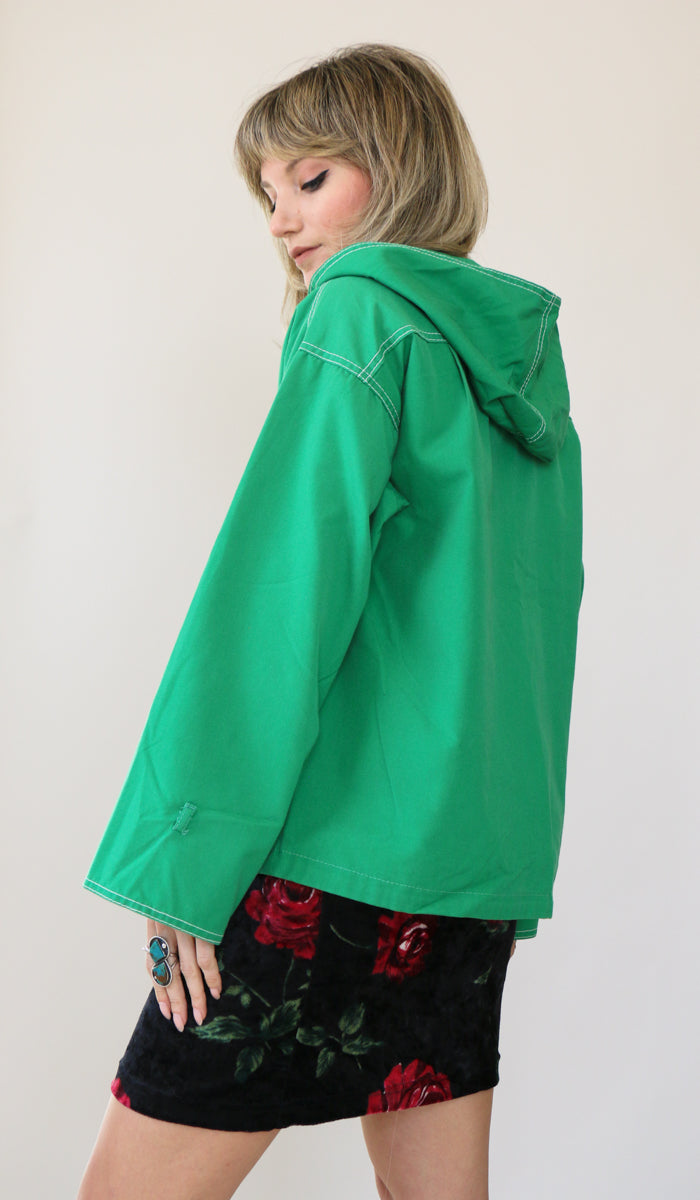 70's Kelly Green Contrast Stitch Cotton Jacket Size M
