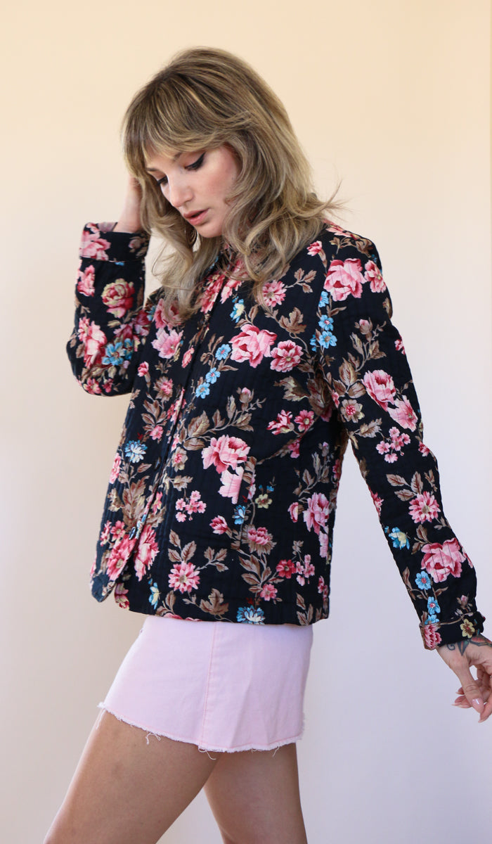 90's Floral Quilted Jacket Size Medium