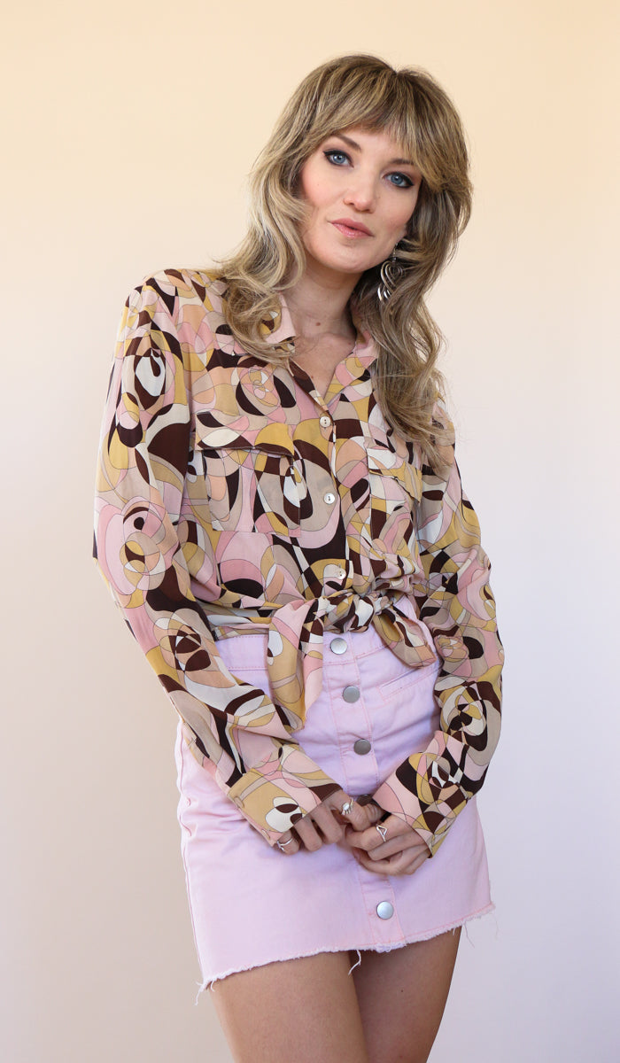 90's Silk Pucci Inspired Button Down Blouse Size Medium