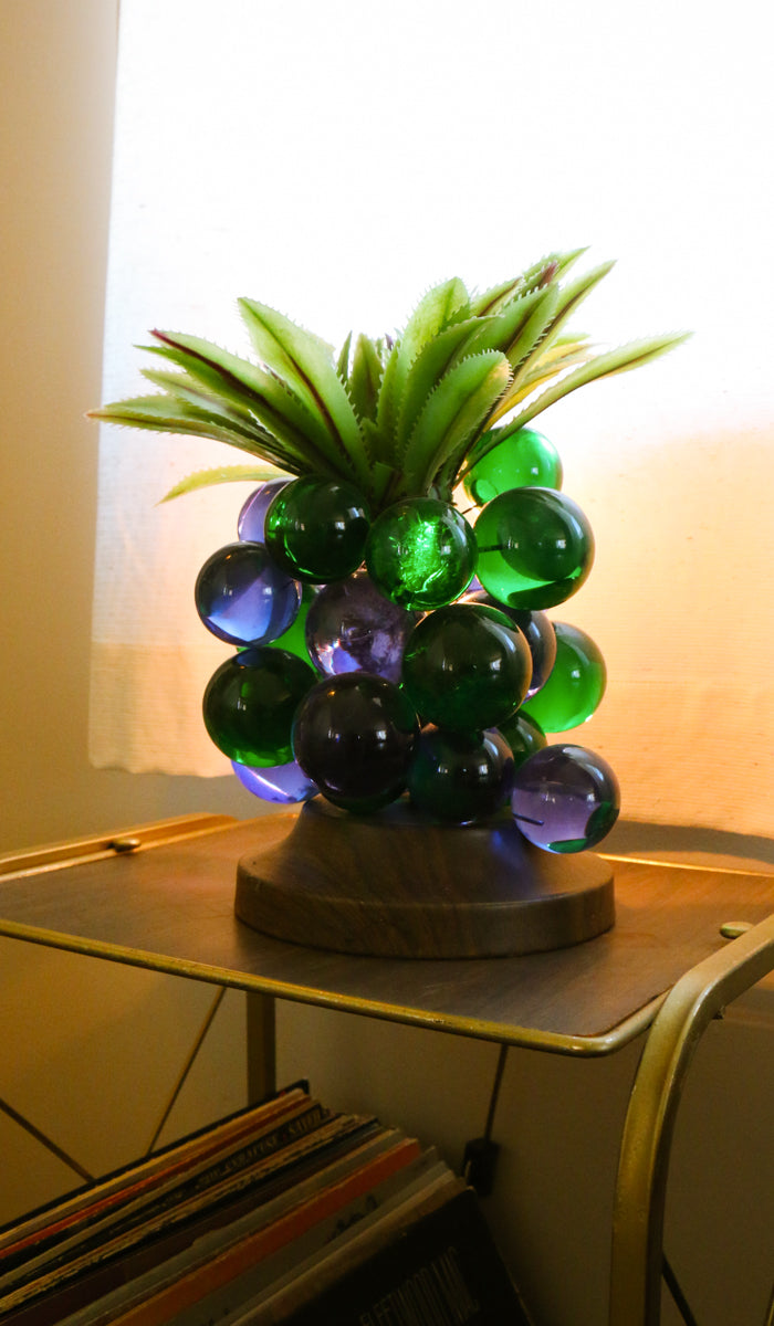 70's Vintage Glass Grape Lamp