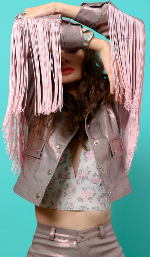 Earth Angel Fringe Jacket in Electric Pink