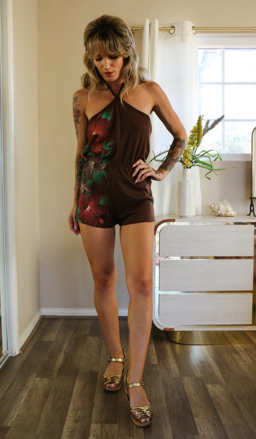 70's Brown Hawaiian Vibes Romper Size S