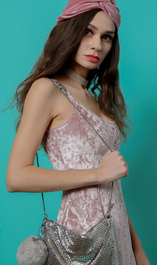 Gia Dress in Blush Velvet