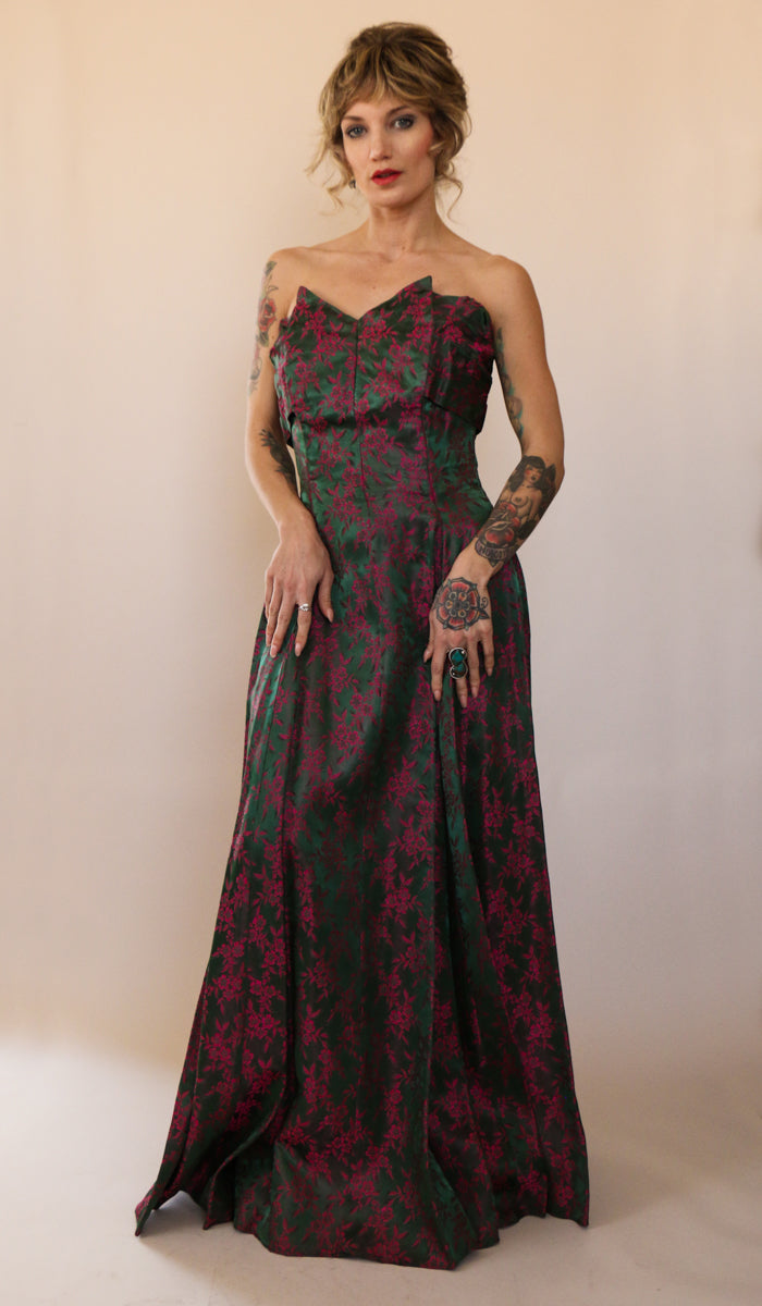 1920's Antique Pink Silk Brocade Gown Size Small