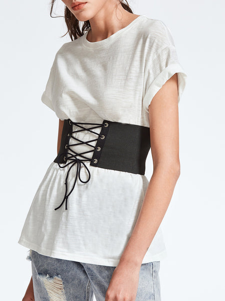 Plain T-shirt With Lace Up Wide Belt