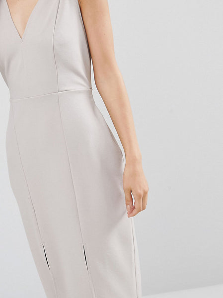 Pencil Dress with Self Tie and Split Detail