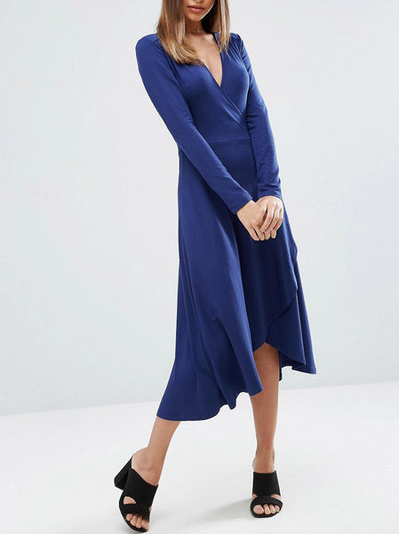 Midi Wrap Tea Dress With Long Sleeves