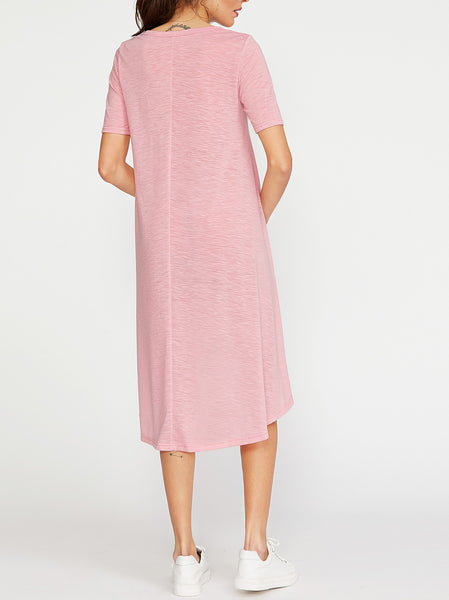 Button Front Asymmetrical Tee Dress
