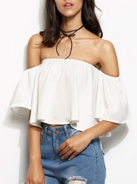 Off Shoulder Ruffle Crop Top