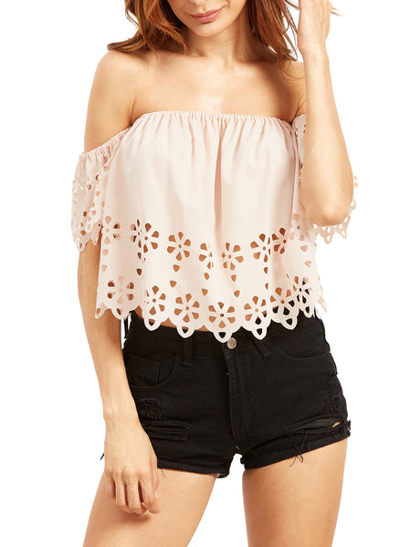 Off Shoulder Crop Top With Cutouts