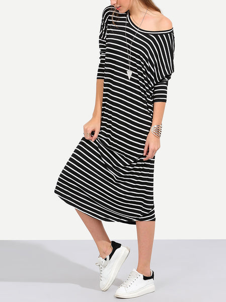 Striped Long Sleeve Midi Dress