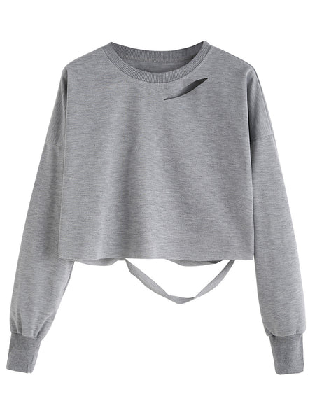 Cut Out Crop Sweater