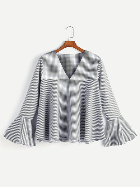 Gingham V Neck Bell Sleeve Top