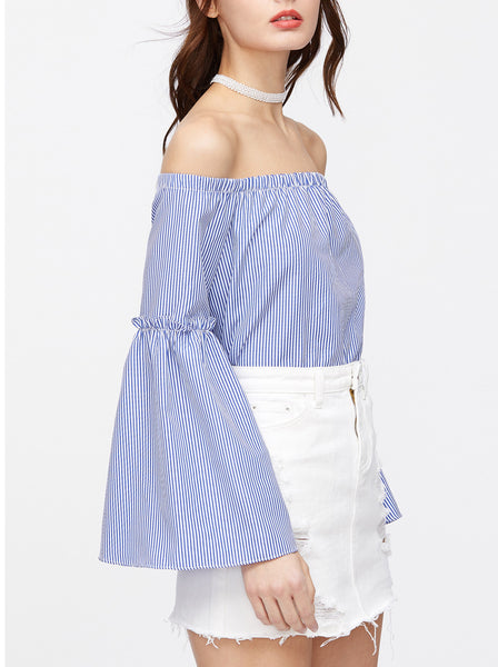 Off Shoulder Bell Sleeves Split Back Top