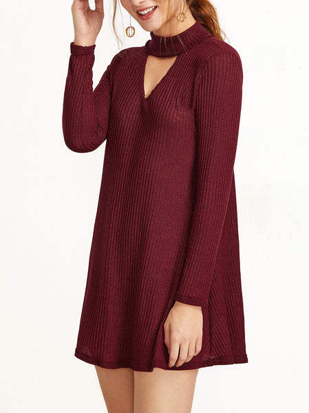 Cutout Front Long Sleeve Shift Dress