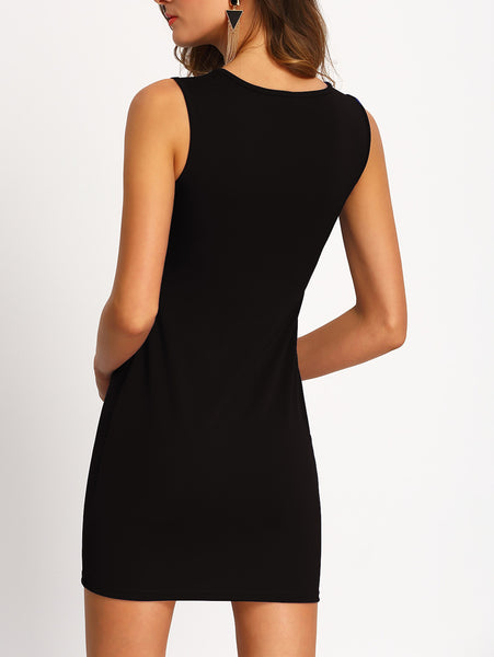 Cut Out Zipper Bodycon Dress