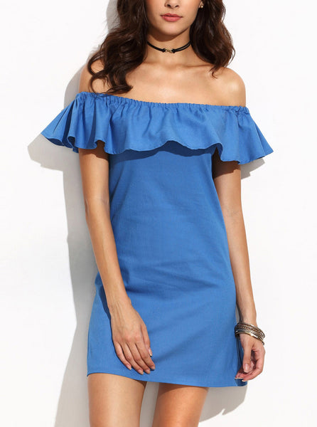 Off Shoulder Ruffle Denim Dress