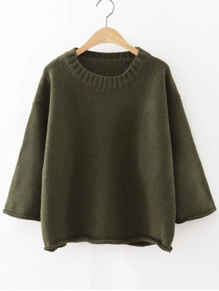 Round Neck Drop Shoulder Loose Sweater