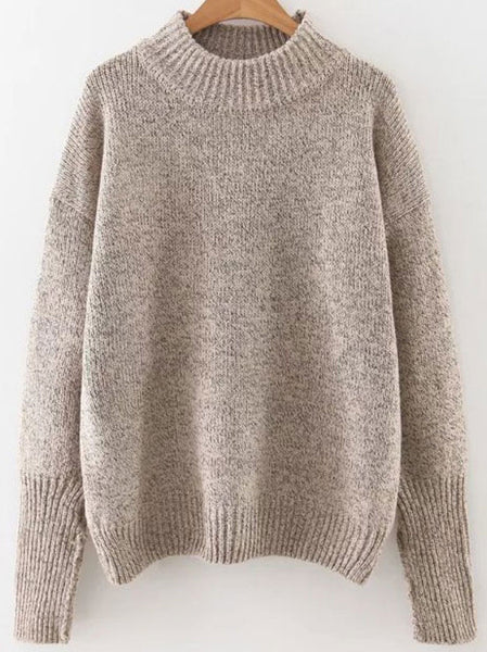 Crew Neck Ribbed Trim Sweater