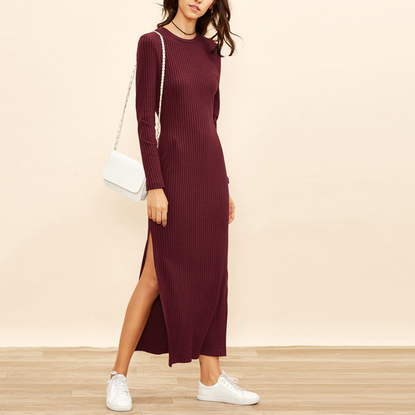 Long Sleeve High Slit Ribbed Maxi Dress