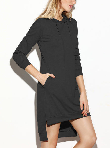 Hooded Side Slit Sweatshirt Dress