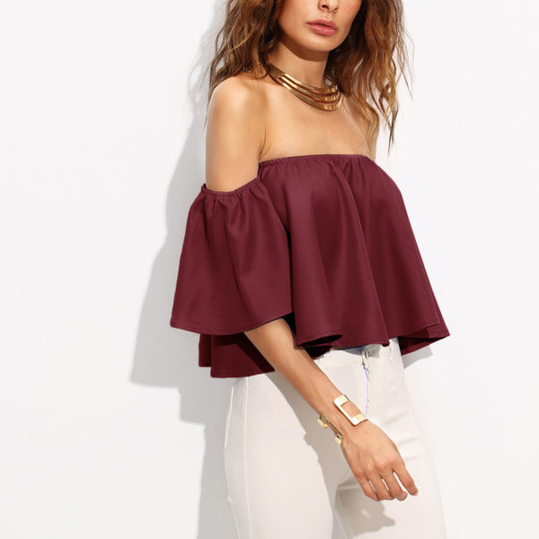 Off Shoulder Flutter Top