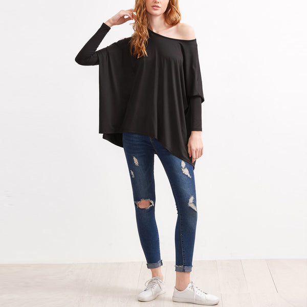 Boat Neck Long Sleeve Oversized Top