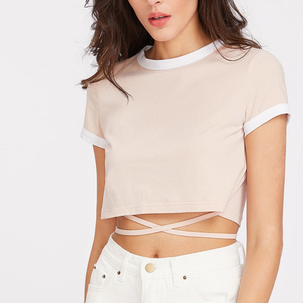 70s Inspired Crop Top With Wrap String