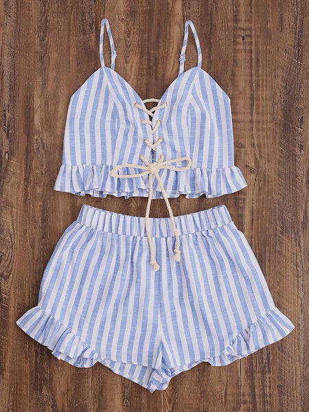 Lace Up Cami Top And Frill Hem Shorts Set