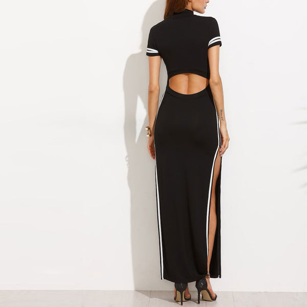 Cutout Back High Slit Maxi Dress