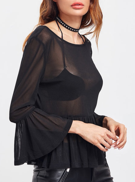 Bell Sleeve Sheer Peplum Blouse