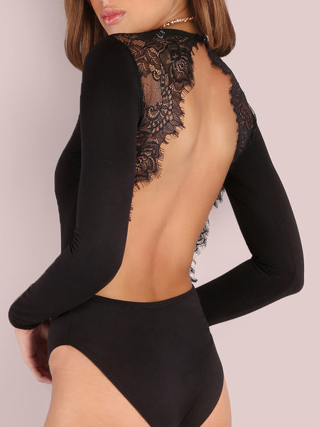 Eyelash Lace Backless Bodysuit