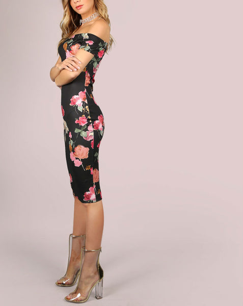 Off The Shoulder Floral Bodycon Midi Dress